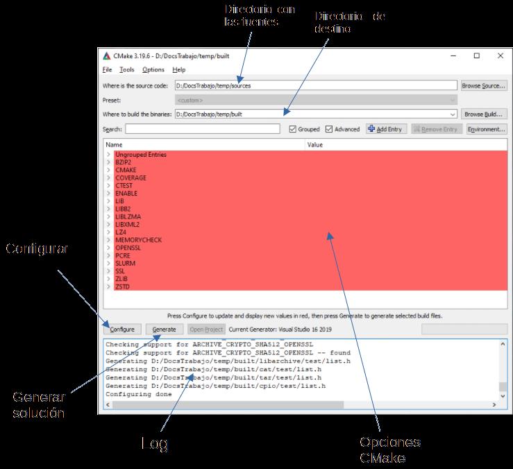 Esquema de CMake para compilar OpenCV 4.5.2 en Windows 10